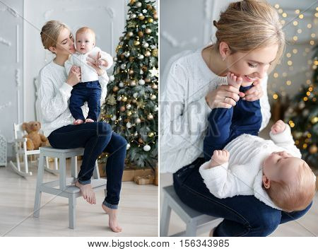 A collage of two photos,a happy mother playing with her young son,sitting in a room with fancy green Christmas tree,mother and baby dressed in a white knitted sweater and dark blue jeans,mom and son,blond hair,Christmas portrait of a mother and child