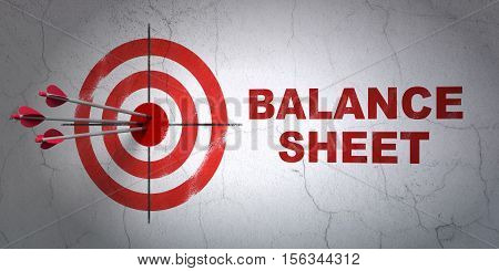 Success currency concept: arrows hitting the center of target, Red Balance Sheet on wall background, 3D rendering