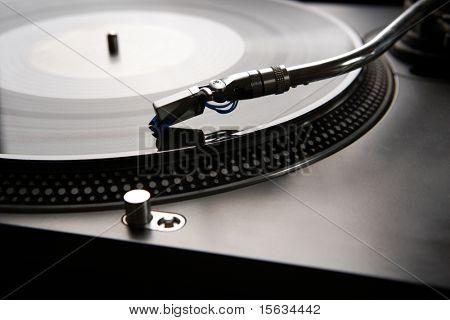 Macro shot of vinyl player