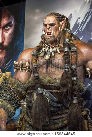 London, the UK-May 2016: Warcraft wax figure in Madame Tussaud's  museum