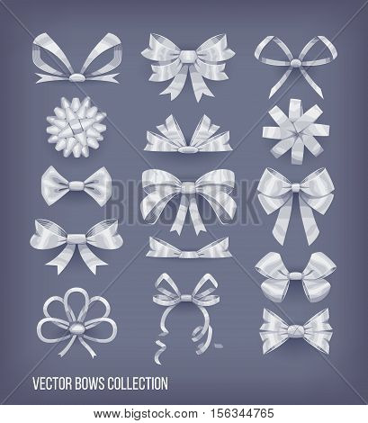 Set of white silver cartoon style bow knots and tied ribbons. Vector decoration elements collection