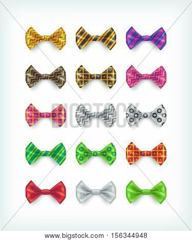 Bow ties icons collection. Different color and pattern necktie vector illustrations