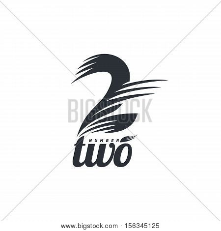 Black and white number two logo formed by abstract parts, vector illustrations isolated on white background. Black and white graphic number two abstract logotype template