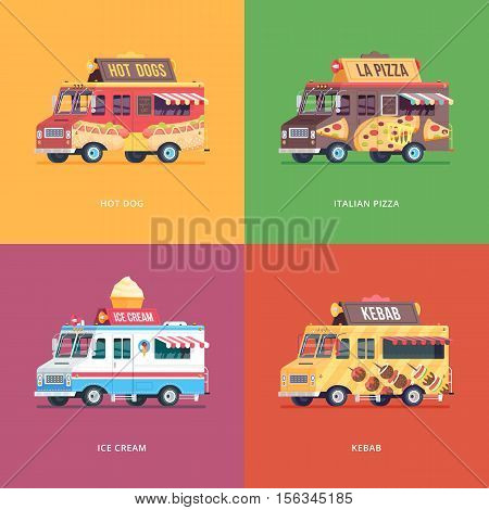Set of flat food truck illustrations. Modern design concept compositions for hot dog, italian pizza, ice cream and kebab delivery wagon.
