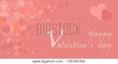 Romantic greeting card for Valentine's day with small pale rose hearts. 14 February. Vector pale pink soft background. EPS 10.