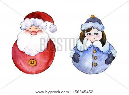 Rounded smiling Santa Claus and funny Snow Maiden with golden buttons on white background. Hand drawn watercolor painting. Can be used for Christmas and New year illustrations greeting cards.