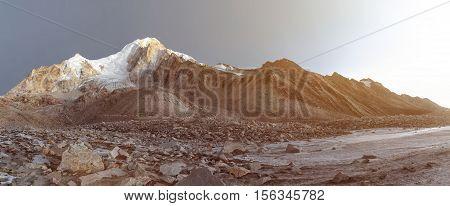 River in Nepal mountains, Manaslu mountain peak