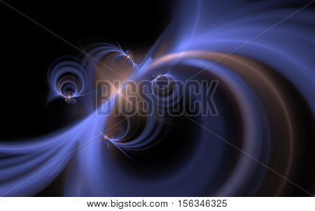 Fractal Abstract pattern of blue and brown fuzzy lines converging in an oval ornament with rings on the sides and a glowing heart on a black background.