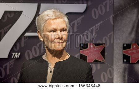 London, the UK-May 2016: Judi Dench wax figure in Madame Tussaud's  museum