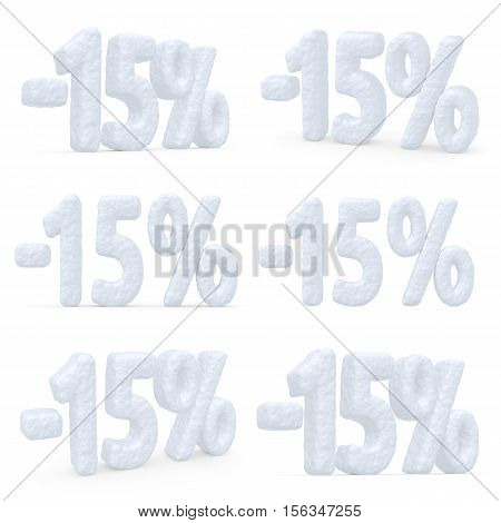 Winter retail sale commercial and business advertisement creative abstract concept christmas sale discount offer snowy special 15 percent price cut off text set made of snow isolated on white 3d illustration