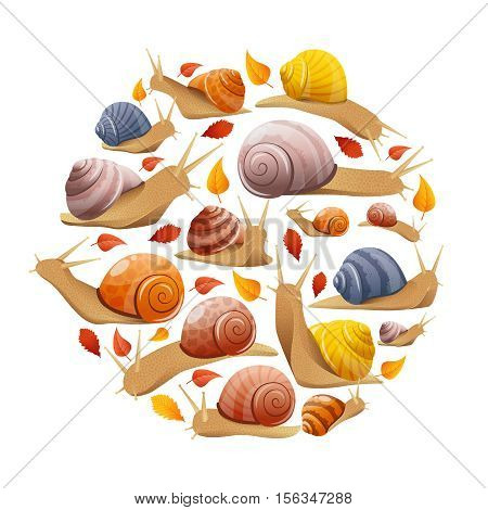 Round composition with isolated autumn leaves and snails symbols of different behaviour size and shell colour vector illustration