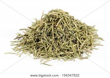 Dried rosemary leaves or needles, isolated over white.