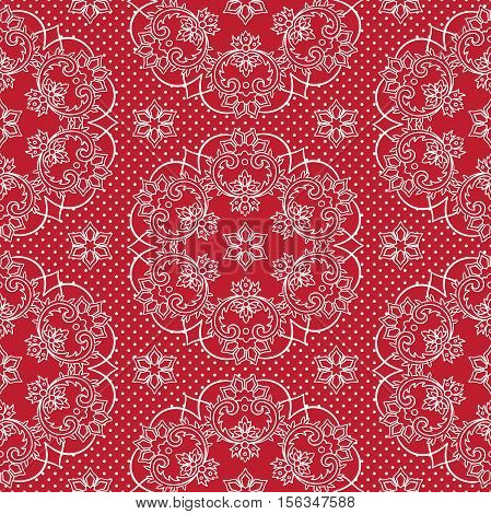 Seamless Pattern Snowflakes And Polka Dots On Red Background Vector. Christmas Lace Fabric Or Wrappi