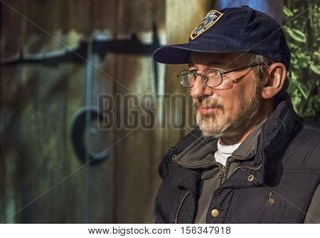 London, the UK-May 2016: Steven Spielberg wax figure in Madame Tussaud's  museum