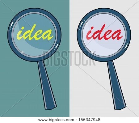 Magnifying glass with word idea on background . Stock vector illustration