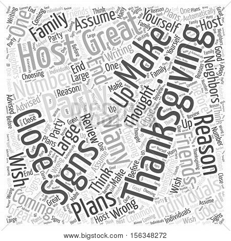 Signs You Would Make a Great Thanksgiving Party Host word cloud concept