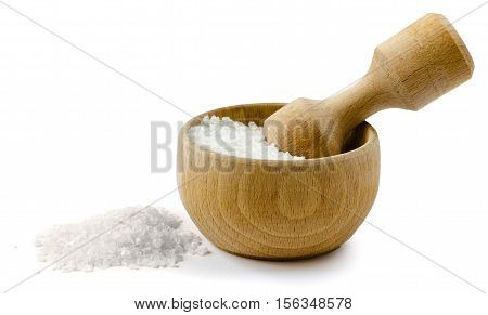 sea salt in a cup isolated on white background