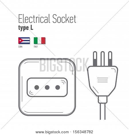 Switches and sockets set. Type L. AC power sockets realistic illustration. Different type power socket set vector isolated icon illustration for different country plugs.