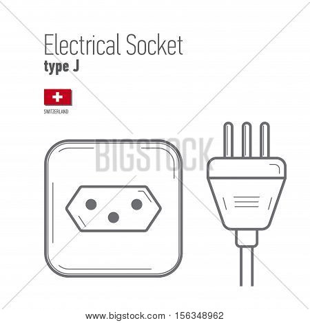 Switches and sockets set. Type J. AC power sockets realistic illustration. Different type power socket set vector isolated icon illustration for different country plugs.