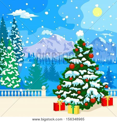 Winter snowy landscape. The stone parapet and balustrade railings. Figured columns balustrades. Fir covered with snow. At a distance of mountains, forest and clouds. Snowing. Ornate Christmas tree covered with snow. Under the colorful gifts to the tree. C