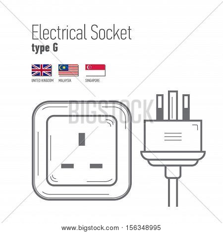 Switches and sockets set. Type G. AC power sockets realistic illustration. Different type power socket set vector isolated icon illustration for different country plugs.