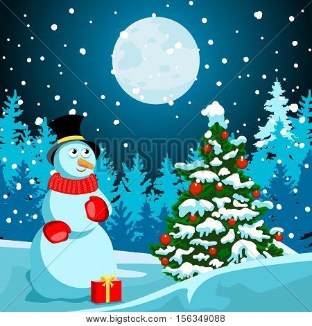 Idyllic winter night landscape. In the meadow Christmas tree with red balls. Near snowman. Black Cylinder hat and red scarf. Red box with a gift. In the distance, dark forest trees silhouettes. Full moon. There is a soft snow. New Year or Christmas card.