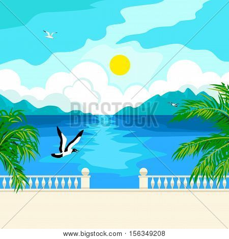 Southern landscape. The stone parapet and railing on the waterfront. Figured columns balustrades. Solar patches of light on water. Green palm branches. In the distance, mountains and clouds. Flying seagull.