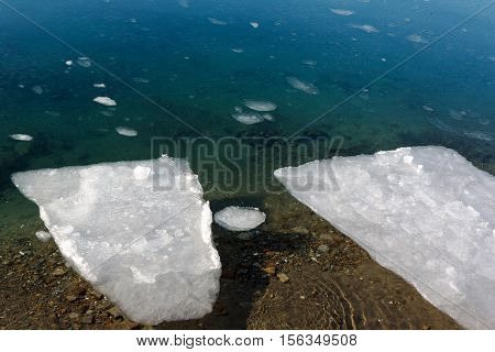 Ice floes on a sea surface. Thin ice floe drifts downstream in springtime
