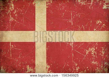 Danish Flag Flat Aged