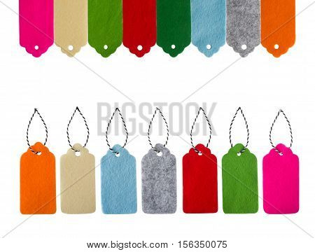 Set of color gift tags isolated on white background. Sale labels. Price tags. Special offer and promotion. Store discount. Shopping time. Label from different color felt.