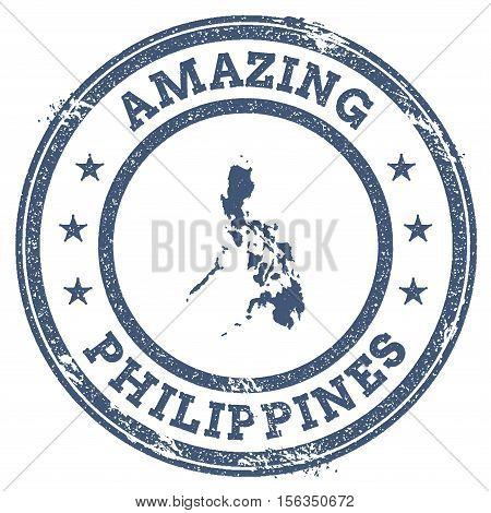 Vintage Amazing Philippines Travel Stamp With Map Outline. Philippines Travel Grunge Round Sticker.