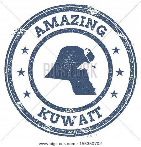 Vintage Amazing Kuwait Travel Stamp With Map Outline. Kuwait Travel Grunge Round Sticker.