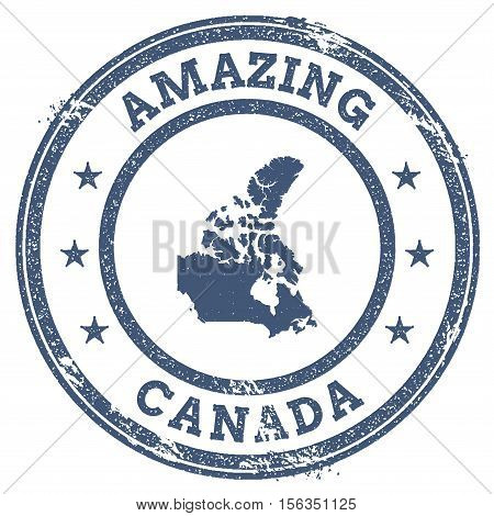 Vintage Amazing Canada Travel Stamp With Map Outline. Canada Travel Grunge Round Sticker.