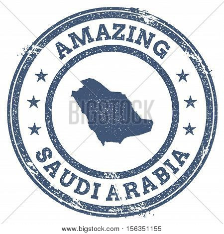 Vintage Amazing Saudi Arabia Travel Stamp With Map Outline. Saudi Arabia Travel Grunge Round Sticker