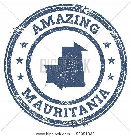 Vintage Amazing Mauritania Travel Stamp With Map Outline. Mauritania Travel Grunge Round Sticker.