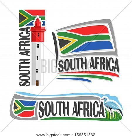 Vector logo South Africa, 3 isolated images: lighthouse at Umhlanga Rocks on background national state flag, symbol RSA, banner republic of south africa, southern african ensign flags, bird blue crane