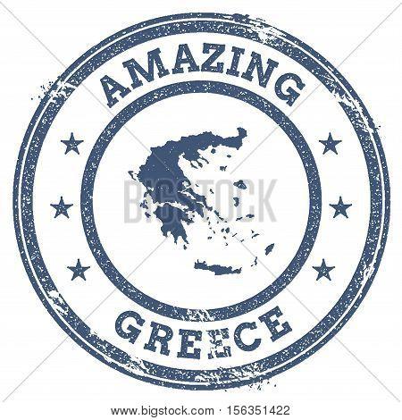 Vintage Amazing Greece Travel Stamp With Map Outline. Greece Travel Grunge Round Sticker.