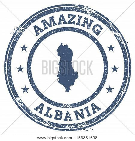 Vintage Amazing Albania Travel Stamp With Map Outline. Albania Travel Grunge Round Sticker.