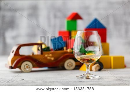 Glass Of Whiskey And Brocken The Car. Concept To Quit Drinking