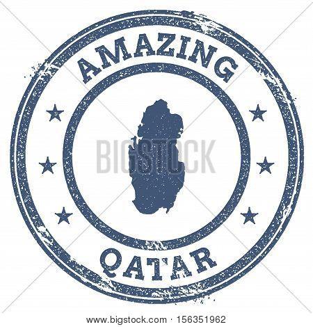Vintage Amazing Qatar Travel Stamp With Map Outline. Qatar Travel Grunge Round Sticker.