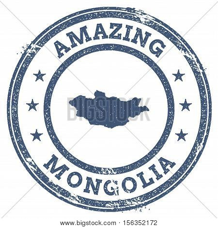 Vintage Amazing Mongolia Travel Stamp With Map Outline. Mongolia Travel Grunge Round Sticker.