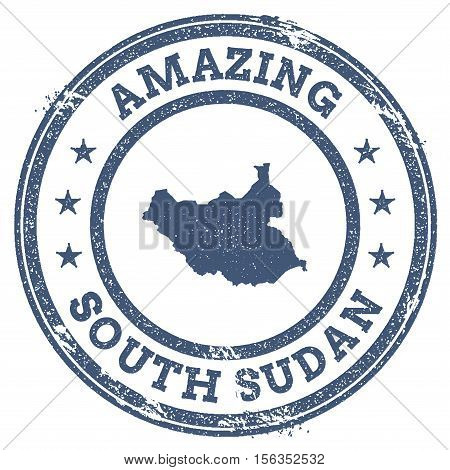 Vintage Amazing South Sudan Travel Stamp With Map Outline. South Sudan Travel Grunge Round Sticker.