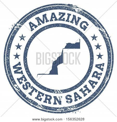 Vintage Amazing Western Sahara Travel Stamp With Map Outline. Western Sahara Travel Grunge Round Sti