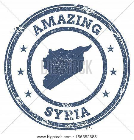 Vintage Amazing Syrian Arab Republic Travel Stamp With Map Outline. Syrian Arab Republic Travel Grun