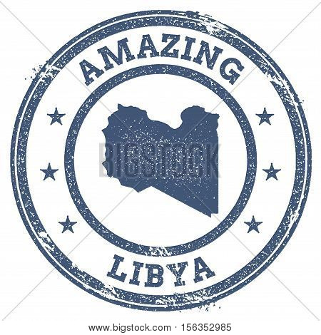 Vintage Amazing Libya Travel Stamp With Map Outline. Libya Travel Grunge Round Sticker.