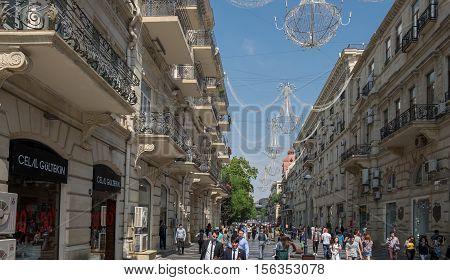 Pedestrians On Nizami Street Baku Center
