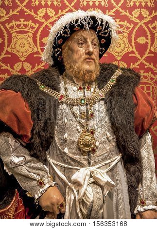 London, the UK-May 2016: King Henry VIII wax figure in Madame Tussaud's  museum