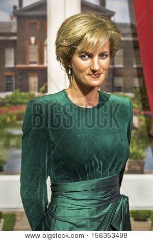 London, the UK-May 2016:  Princess Diana wax figure in Madame Tussaud's  museum