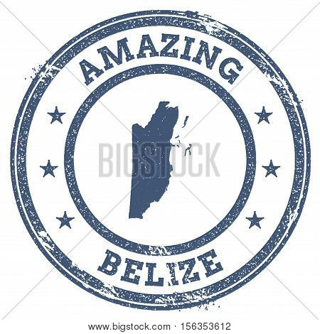 Vintage Amazing Belize Travel Stamp With Map Outline. Belize Travel Grunge Round Sticker.