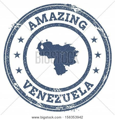 Vintage Amazing Venezuela, Bolivarian Republic Of Travel Stamp With Map Outline. Venezuela, Bolivari